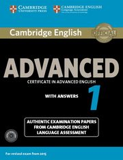 ksiazka tytuł: Cambridge English Advanced 1 Authentic examination papers with answers + 2CD autor: